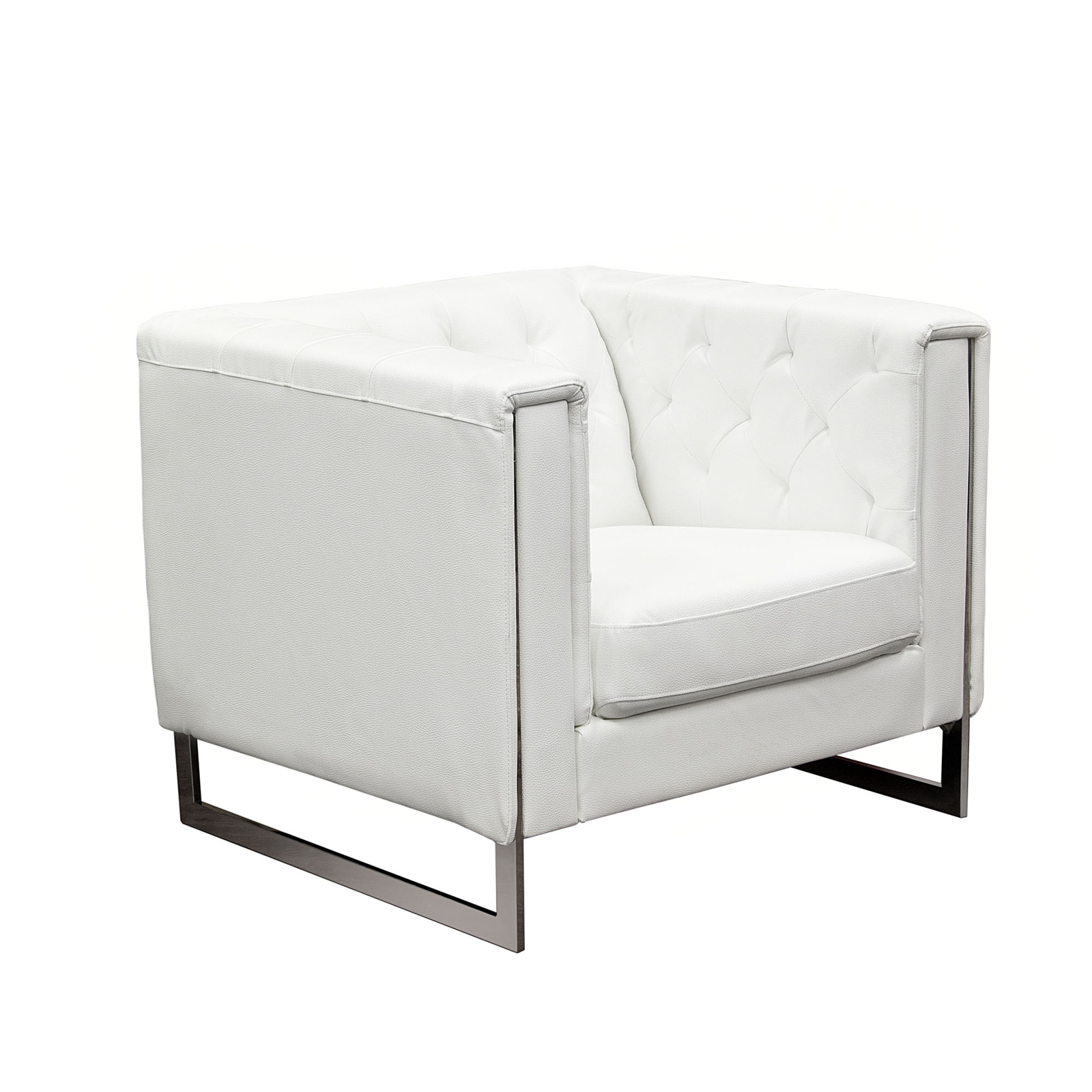 Admirable White Leather Accent Chair Ibusinesslaw Wood Chair Design Ideas Ibusinesslaworg